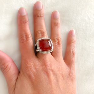 DY Albion Ring with Carnelian and Diamonds